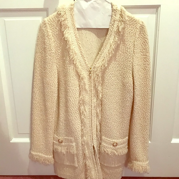 St. John Collection Jackets & Blazers - St John Knit Boucle Fringe Zippered Jacket Cream